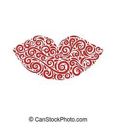 Vector illustration of ornamental stylized lips.