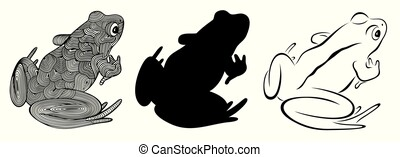 Vector illustration of outline, decorative zentangle frog and frogs silhouette in black color