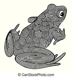 Vector illustration of outline, decorative zentangle sitting frog, in black color, isolated, on white background.