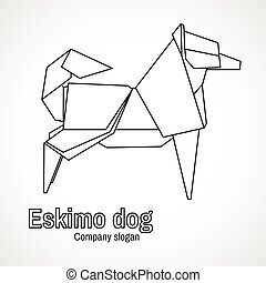 Vector illustration of outline origami dog
