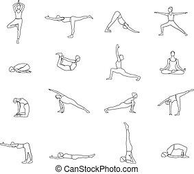 yoga postures exercises set vector illustration