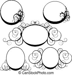 vector illustration of oval frame with swirls