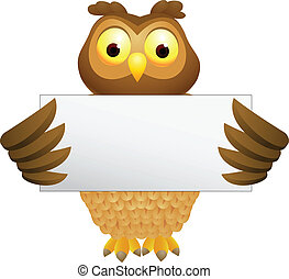 Owl cartoon with blank sign