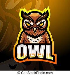 Owl mascot esport logo design