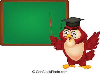 Owl teacher copy space for own text
