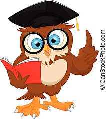 owl wearing graduation cap and reading book
