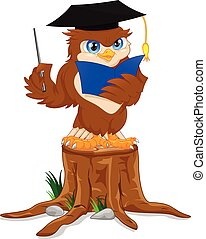 owl wearing graduation cap