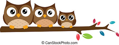 owls Family sat on a tree branch - Vector Illustration of...