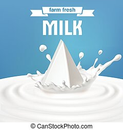 Vector illustration of packing of tetra pack with milk...