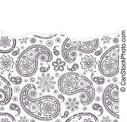 paisley pattern with torn paper