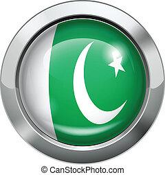 Pakistan flag metal button