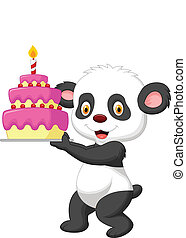 Panda cartoon with birthday cake
