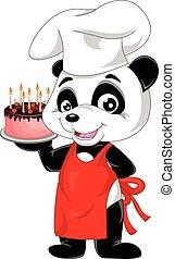panda cartoon with birthday cake