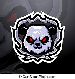 Panda head mascot esport logo design