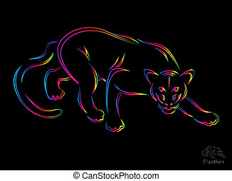 Vector illustration of panther symbol - tattoo
