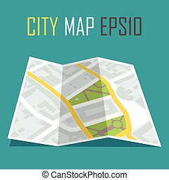 vector illustration of paper city map on blue background