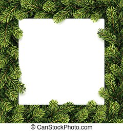 Paper for christmas list on a pine - Vector illustration of...