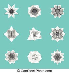 Vector illustration of paper origami flowers set