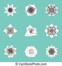 Vector illustration of paper origami flowers set