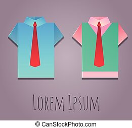 Vector illustration of paper origami office shirt.