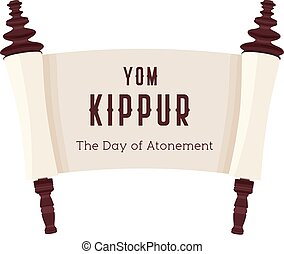 Vector illustration of papyrus on a white background. Scroll paper. Cartoon image of the Torah in the unfolded state. Yom Kippur design illustration