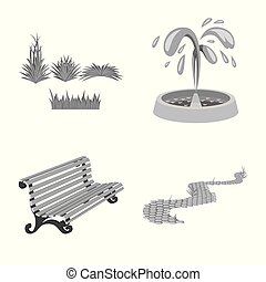 Vector illustration of park and city icon. Set of park and street stock vector illustration.