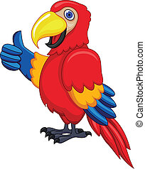 Parrot Cartoon - Vector Illustration Of Parrot Cartoon