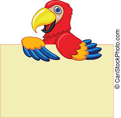 Parrot With Blank Sign
