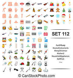 Vector illustration of part, body, musical instrument, merry, christmas, kitchen, household appliance golf club fishing icon set.