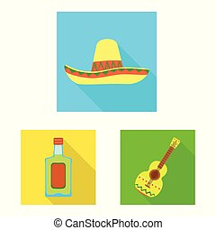 Vector illustration of party and celebration sign. Collection of party and Latin stock symbol for web.