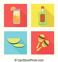 Vector illustration of party and celebration sign. Set of party and Latin stock symbol for web.