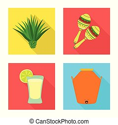 Vector illustration of party and celebration symbol. Collection of party and Latin stock symbol for web.