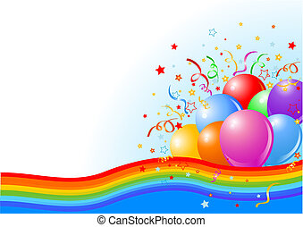 Vector illustration of Party balloons background with rainbow ribbon