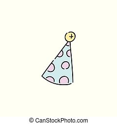 Vector illustration of party cone hat isolated on white background.