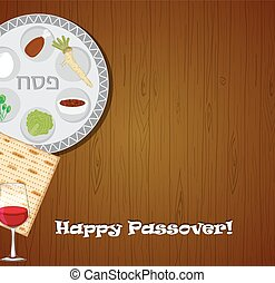Vector illustration of Passover dinner , seder pesach. table with passover plate and traditional food