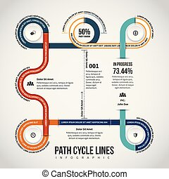 Path Cycle Lines Infographic