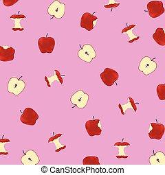 Vector illustration of pattern apples on pink background