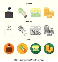 Vector illustration of payment and loan symbol. Set of payment and financial stock symbol for web.