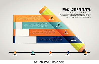 Pencil Slice Progress Infographic