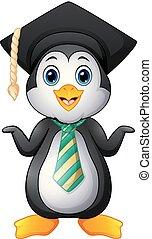 Penguin cartoon with graduation cap and striped tie