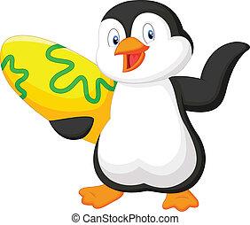 Penguin holding surfing board