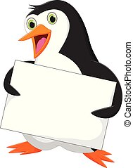 Penguin with blank sign