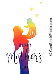 Vector illustration of people blurred silhouette. Mother keep child on her hands