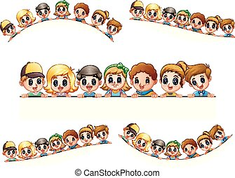 People cartoon crowd happy together