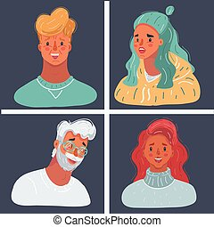 Vector illustration of people face collection on dark background. Famale and male avatar. Man and woman