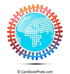 Vector Illustration of People Holding Hands Around Globe