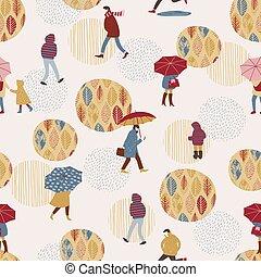 Vector illustration of people in the rain. Autumn mood. Seamless pattern.