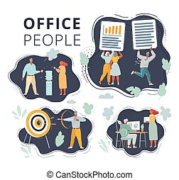 Vector illustration of People on dark background set. Office team working at workspaces. Work with files, cooler, aim and bow arrow