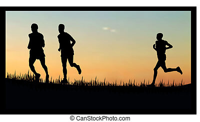 vector illustration of people running/jogging in the sunset/sunrise