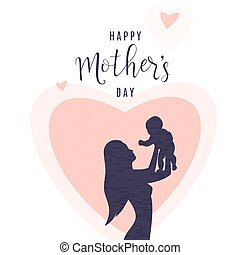 Vector illustration of people silhouette. Mother keep child on her hands